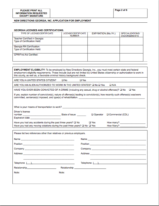 New Directions Employment Application-pg2